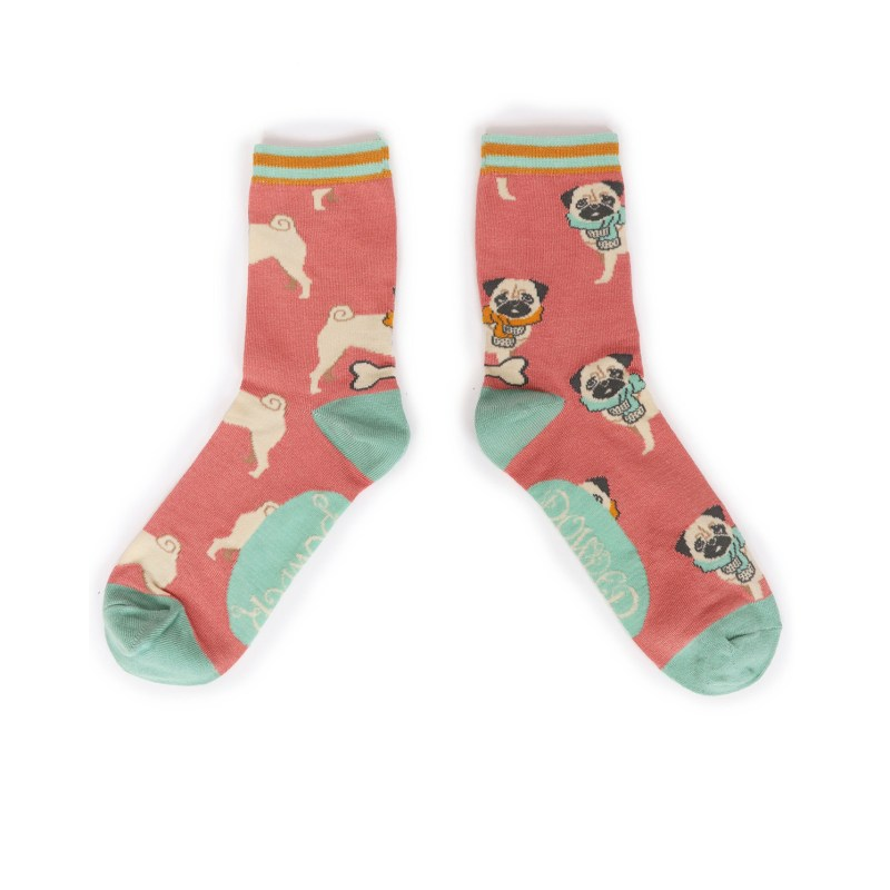 Powder – Candy Pink Cosy Pug Ankle Socks with Presentation Gift Bag