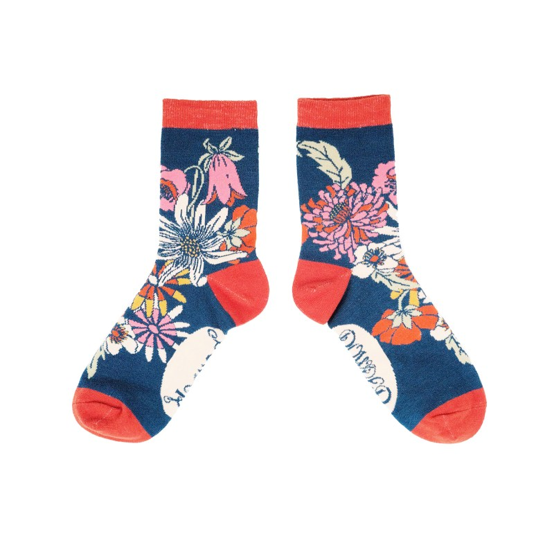 Powder – Teal Retro Meadow Ankle Socks with Presentation Gift Bag