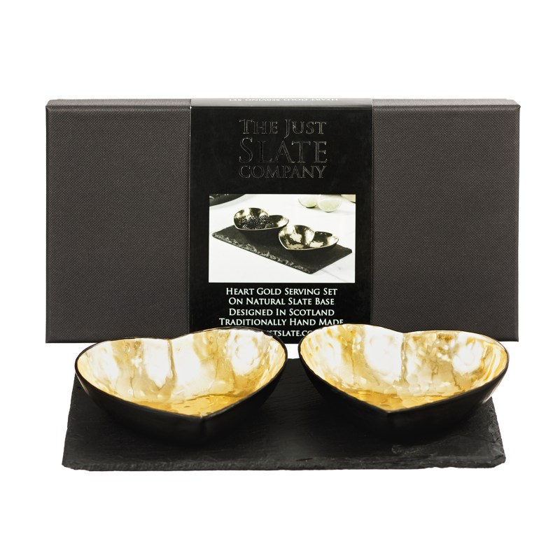 The Just Slate Company – Heart Gold Serving Set in Presentation Gift Box