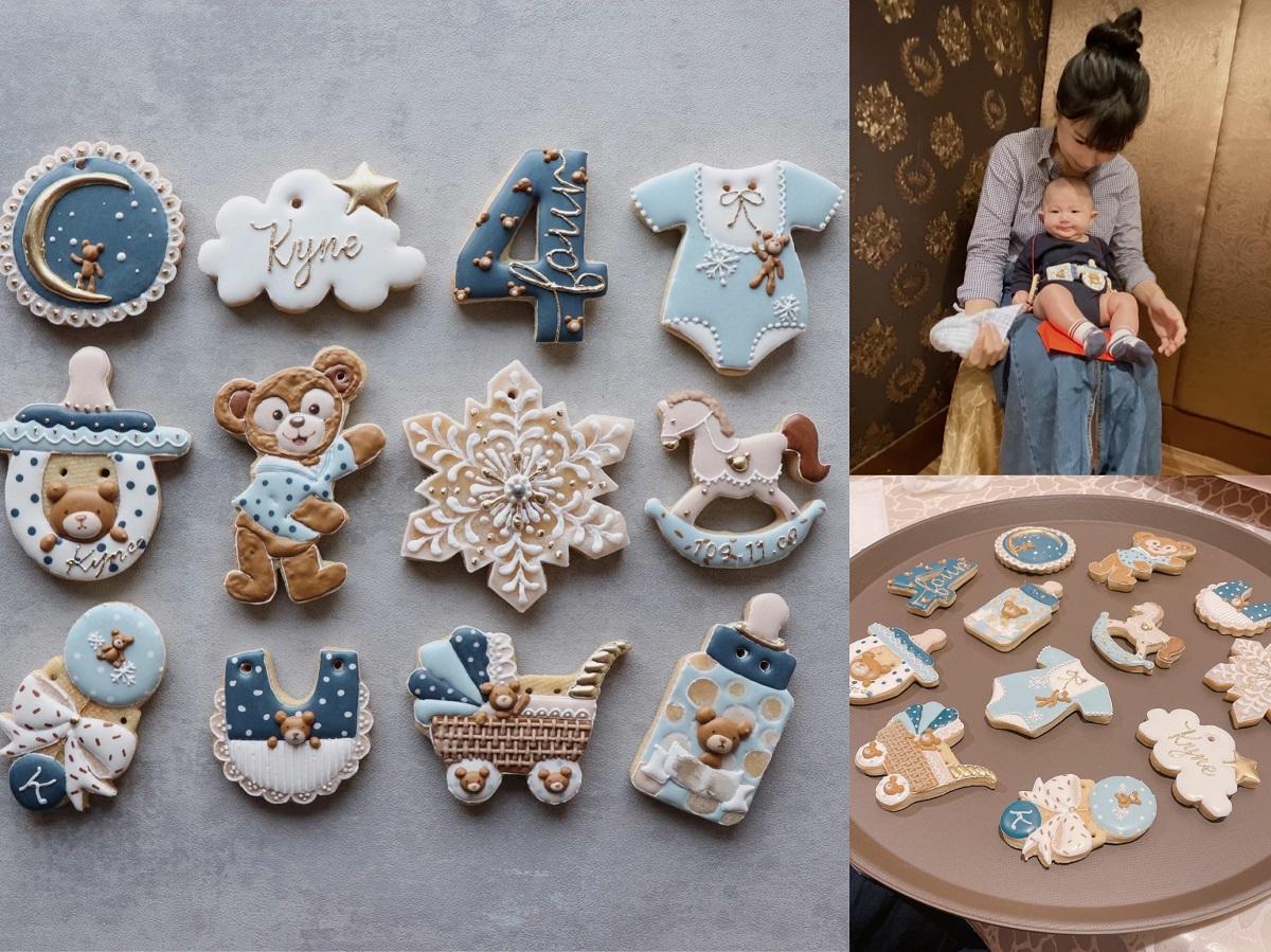 《育兒》寶寶滿四個月了!無敵可愛的收涎餅乾,吸睛又好吃