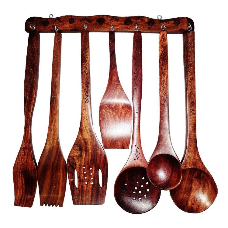 Cooking Utensils sets Wooden - Hand Carved