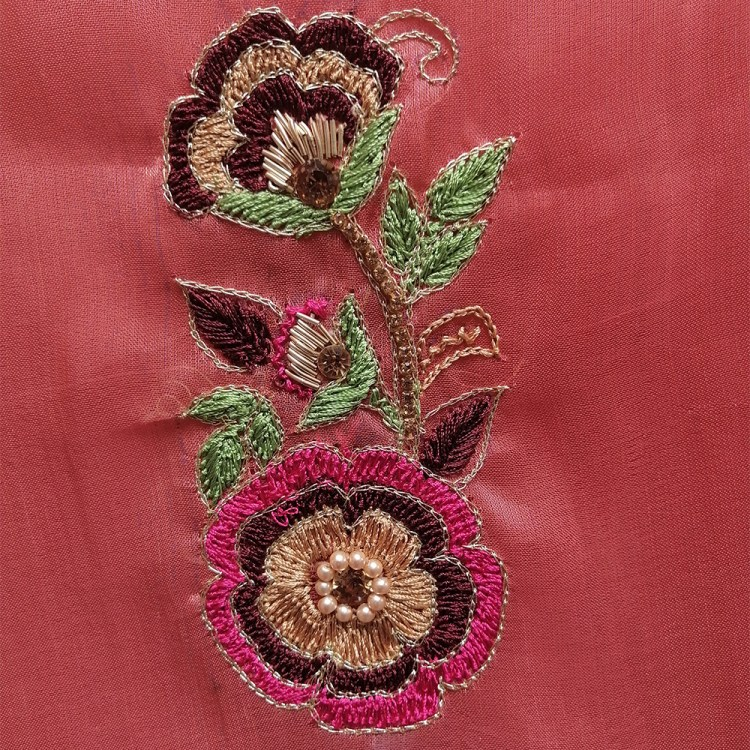 Tea Pink Fully Embroidered female Shirt