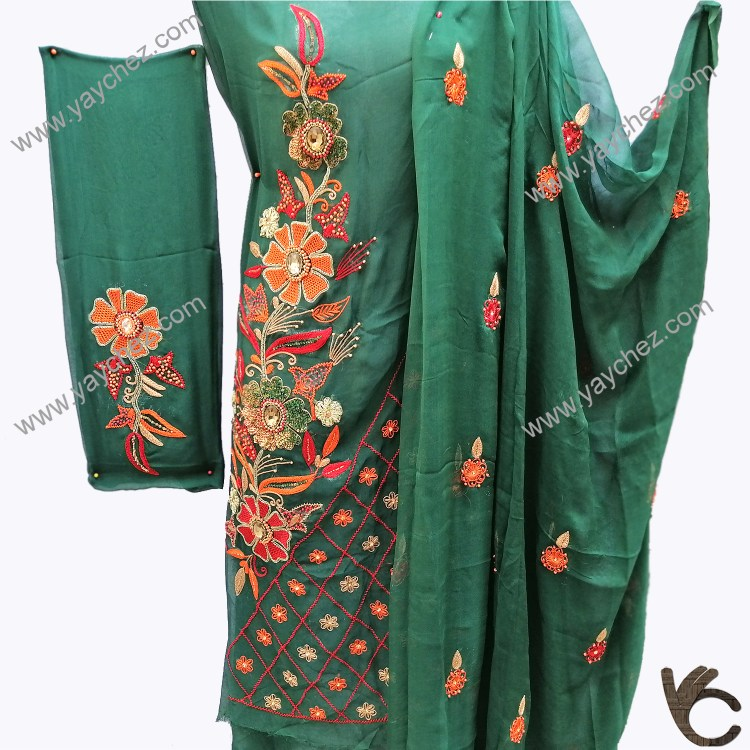 Fully Embroidered Green shirt with dupatta