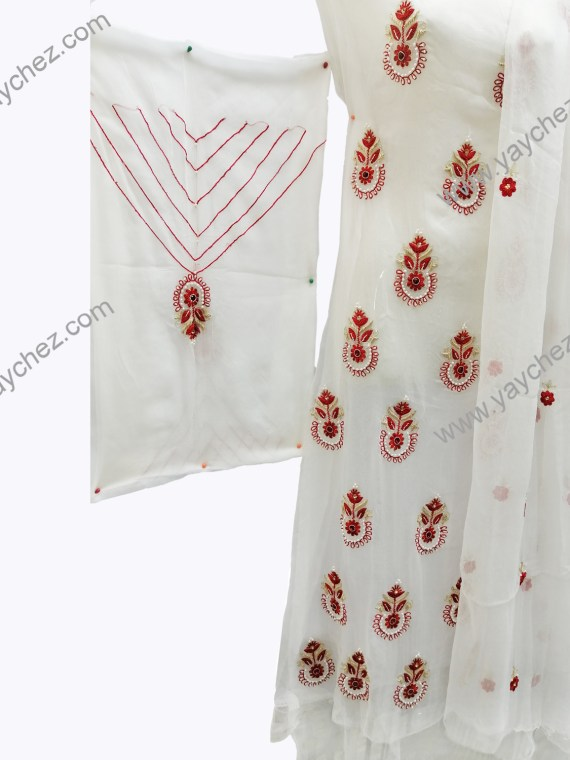 Hand Embroided With Red rose Pure Pk-Off white (2)