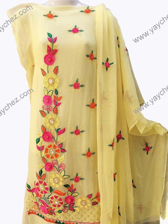 Light Yellow Embroidered shirt with multi-color thread