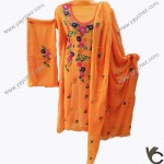 Hand Made Embroidery on orange color shirt