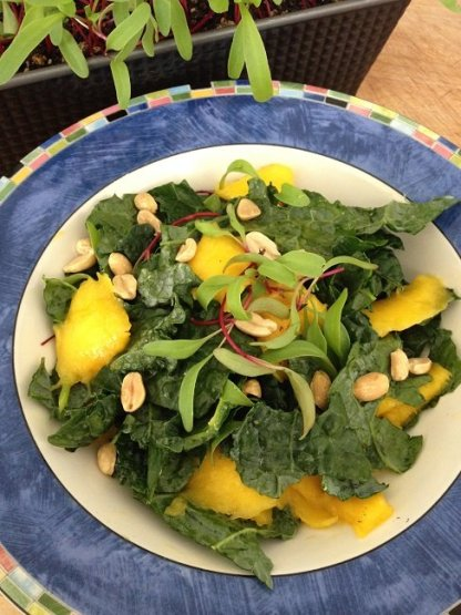 Kale mango salad with roasted peanuts and fresh-picked, home-grown beet greens