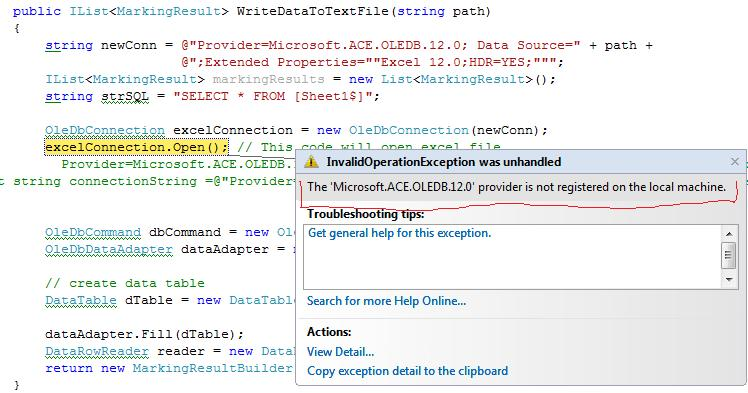 The 'Microsoft.ACE.OLEDB.12.0' provider is not registered on the local machine. | YBBEST ...