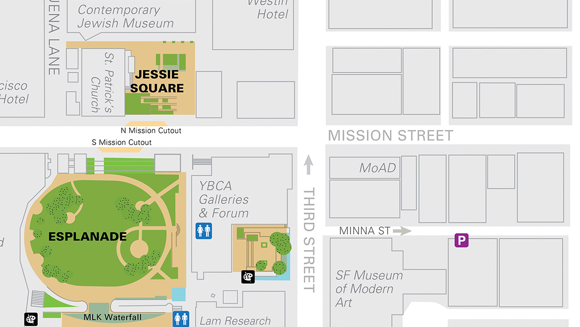 Map of Yerba Buena Gardens and MoAD.