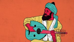 Illustration of Yassir Chadly playing the oud