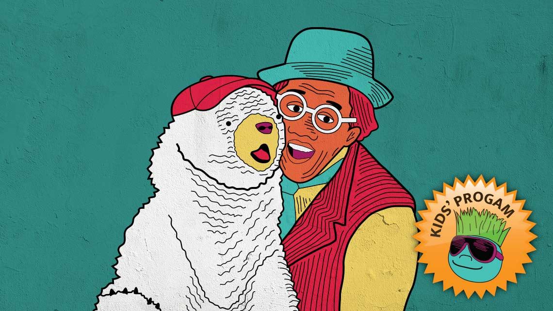 Illustration of Unique Derique with Yerba Buena Gardens Festival mascot Bearnice