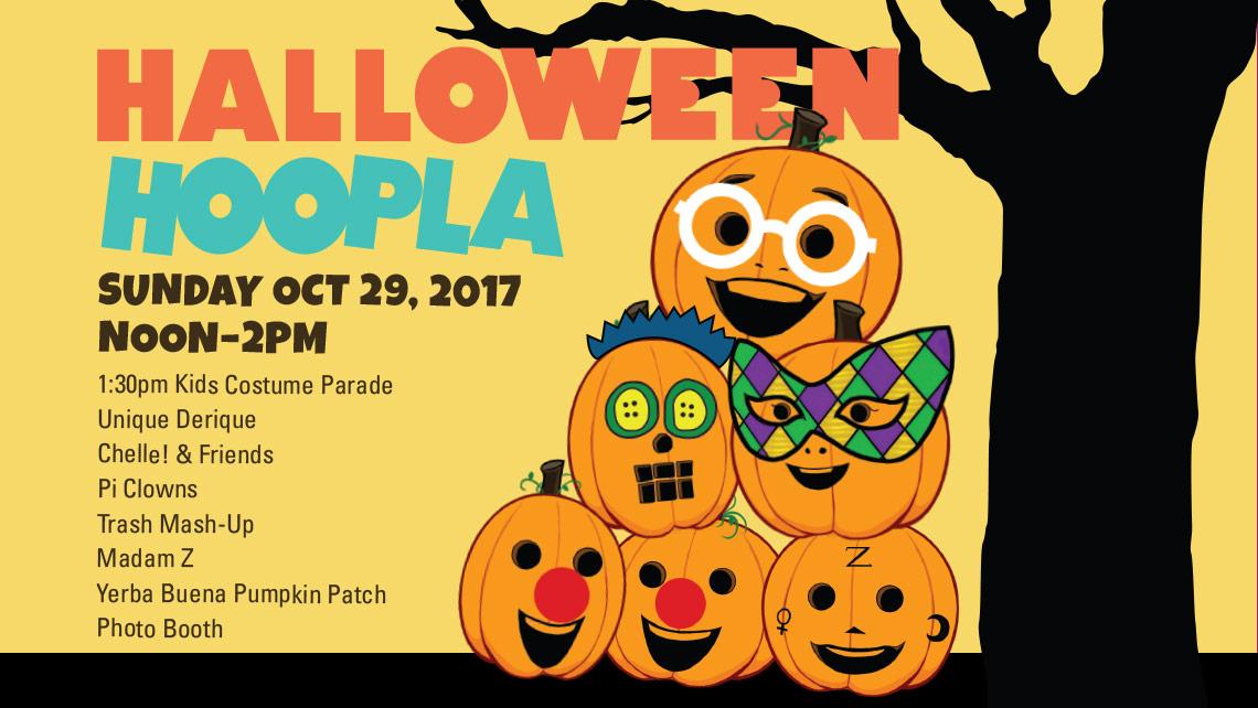 Halloween Hoopla. Illustrations of 6 smiling jack-o-lanterns.