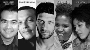 Photos of Brian Komei Demster, Charif Shanahan, Matthew Siegel, Arisa White, and Eki Shola