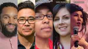 Photos of Derrick Carr, Lee Herrick, Raina J. Leon, Sara Mumolo, and ContainHer