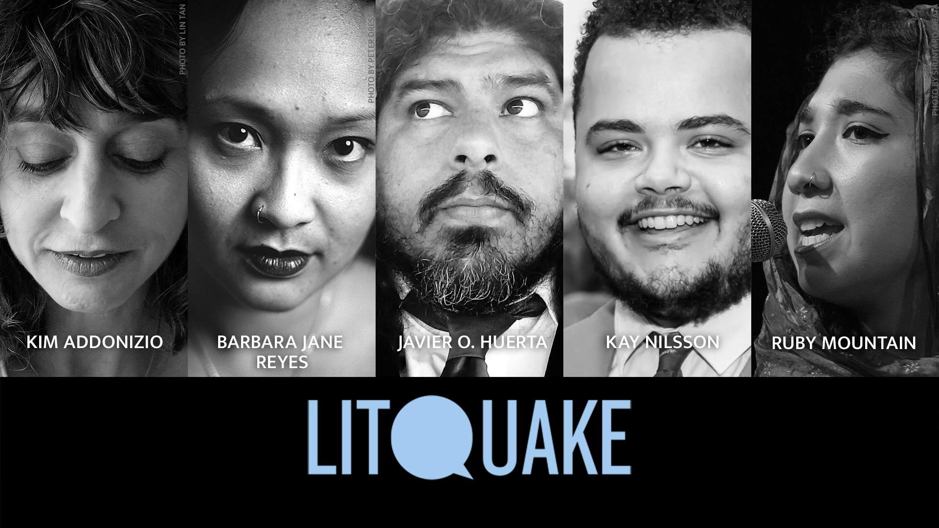Photos of poets Kim Addonizio, Barbara Jane Reyes, Javier O. Huerta, Kay Nilsson, and musical guest Ruby Mountain.