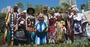 Photo of Native American people at Yerba Buena Gardens in San Francisco, by David Tau