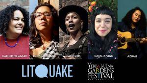 Photos of Katherine Agard, Luna Merbruja, Imani Sims, Natalia Vigil, and Azuah for Poetic Tuesday