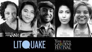 Photos of poets Nazelah Jamison, Amanda Muñiz, Vernon Keeve III, Thea Matthews, and musician Gabi Díaz-Hernández