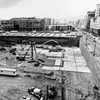 Black and white photo of construction site at Yerba Buena Gardens
