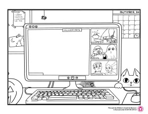 Outline drawing of a computer screen with a group video chat on, one big blank square in the middle with three smaller squares on the right side. Each square has 1-2 people in monster or character costumes.