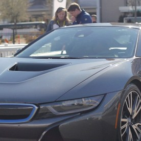 YBLTV Anchor Erika Blackwell with Philipp Hoffman, BMW Group's Project Manager for Camera Monitor Systems alongside the BMW i8 Mirrorless at CES 2016.