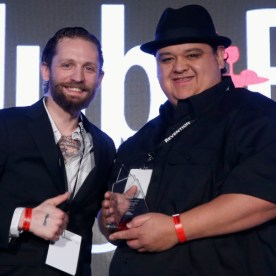 Steve Schneider presents the award for 'Bartender of the Year' to Nectaly Mendoza. Getty Images for Nightclub & Bar.