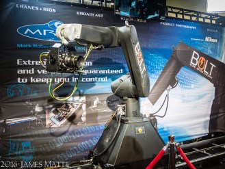 Las Vegas, NV - April 18, 2016: NAB trade show exhibit demonstrates a remote control dolly and boom cinematography. Photo by James Mattil, YBLTV Writer / Reviewer / Photographer.