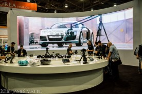 Las Vegas, NV - April 18, 2016: An exhibit on the NAB 2016 trade show floor. Photo by James Mattil, YBLTV Writer / Reviewer / Photographer.