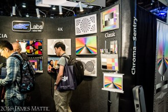 Las Vegas, NV - April 18, 2016: Colorful exhibit booth at the NAB Show. Photo by James Mattil, YBLTV Writer / Reviewer / Photographer.