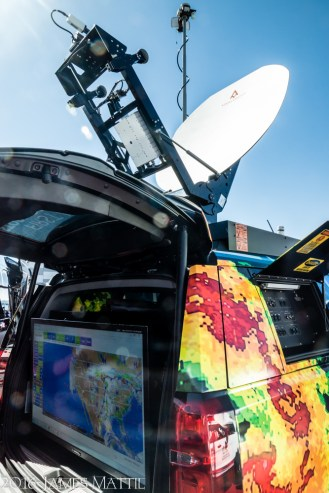 NAB Show, Las Vegas, NV - April 18, 2016: A mobile storm chaser truck for tarcking and reporting on extreme weather. Photo by James Mattil, YBLTV Writer / Reviewer / Photographer.