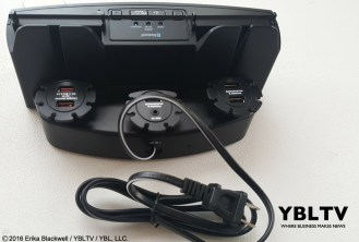 YBLTV Erika Blackwell Review: Dok Solution LLC.: CR33 5 Port Smart Phone Charger with Bluetooth Speaker and Speaker Phone: Rear of Unit.