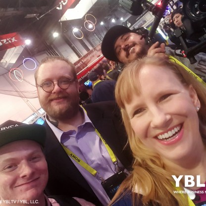 YBLTV Anchor, Erika Blackwell with YBLTV Writer / Reviewers, Jack X, Justin Jett and Scott Pesqueira, Multimedia Producer / Director of Photography at CES 2017.