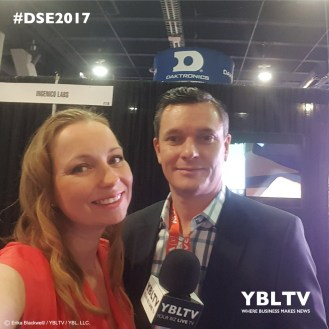 Ingenico Group's, VP, Business Development, Chris Tyghe with YBLTV Anchor, Dawn Church at the 2017 Digital Signage Expo, Las Vegas, NV.