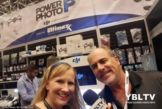 YBLTV Anchor, Erika Blackwell meets PowerPhoto Corp.'s Director of Sales, Jeff Stevens at InterDrone 2017.