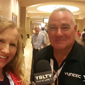 YBLTV Anchor with Yuneec's Douglas Spotted Eagle at InterDrone 2017.
