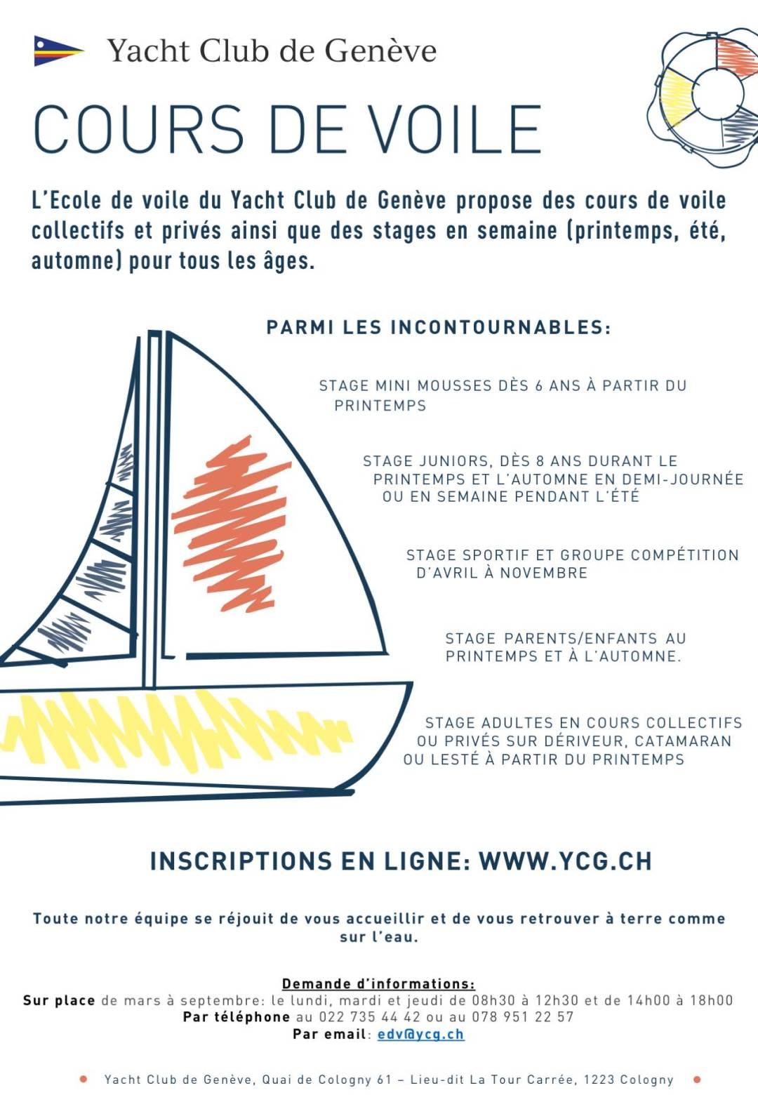 Affiche des cours de voile du Yacht Club de Genève