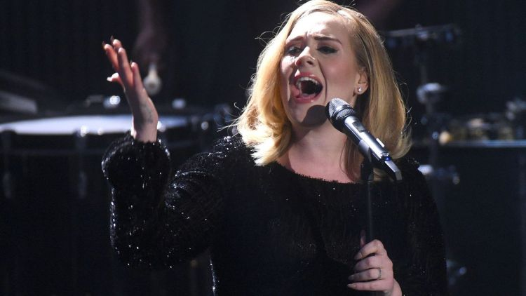 Adele performing in 2015 in Germany. She followed Beyoncé's example and fashioned her own persona called Sasha Carter (Credit: Alamy)