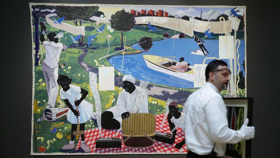 Kerry James Marshall'ın tablosu Past Times (1997) 21,1 milyon dolara satıldı, yaşayan bir Afrikalı-Amerikalı sanatçı için yeni bir rekor (Kredi: Alamy)