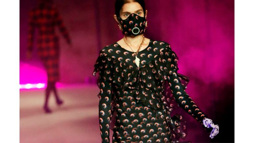 Masks have been incorporated into many designers' collections in the past year, including Serre (Credit: Getty Images)