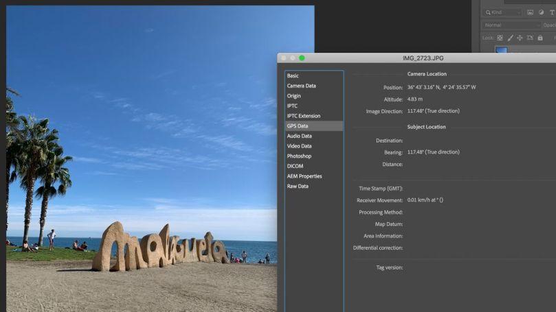 A view of photo location metadata inside Adobe Photoshop (Credit: Javier Hirschfeld)
