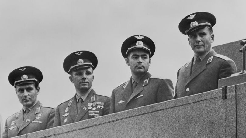 The first intake of potential cosmonauts as whittled down to 20, including Yuri Gagarin, second from the left (Credit: Keystone/Hulton Archive/Getty Images)