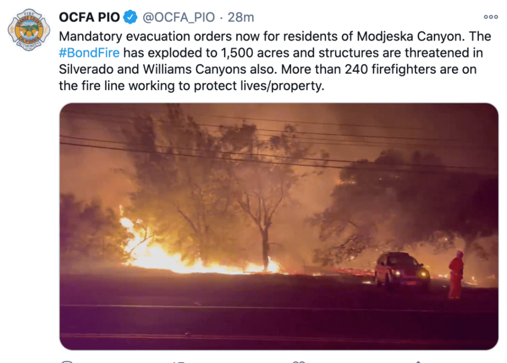 Driven by strong winds, wildfires rise again in Orange County, Southern California, United States