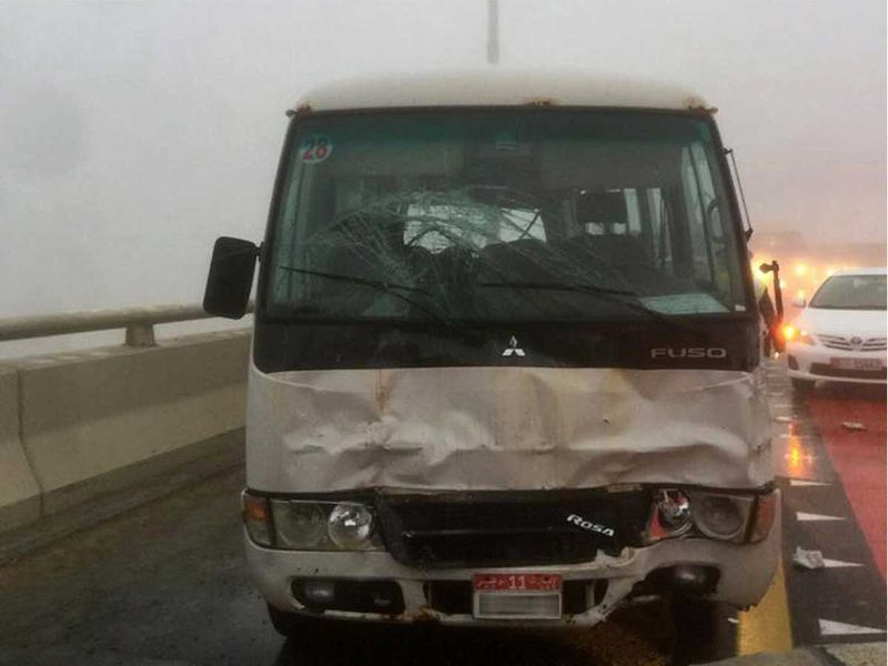 19 cars collided in Abu Dhabi, United Arab Emirates. The accident has killed 1 and injured 8 people.