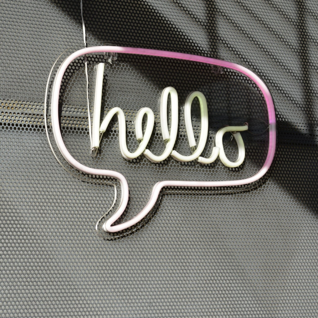 The word 'hello' in a speech bubble