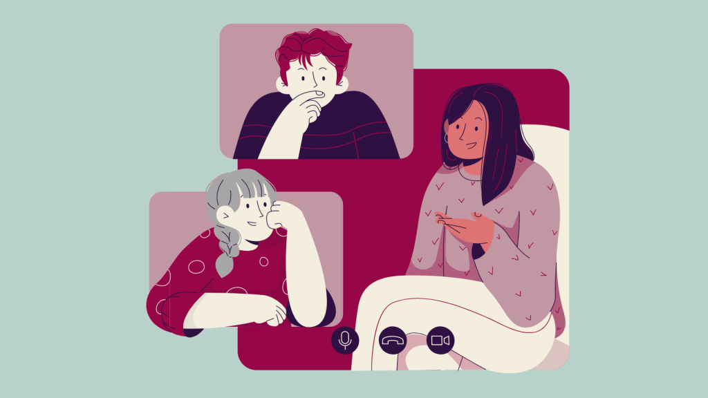 Illustration of three people talking. Each is in a separate frame and icons at the bottom of the image imply that they're talking via video conferencing