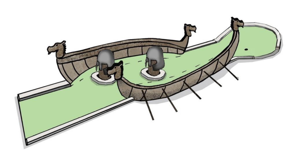 Artist's impression of a Viking-themed mini-golf course hole. Includes the sides of a longboat and two heads wearing Viking helmets.