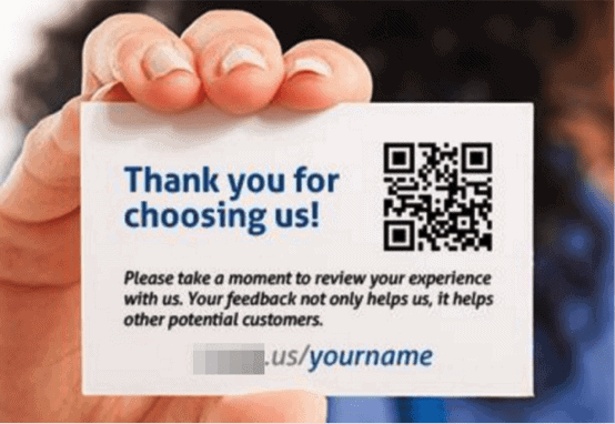 Review website business card