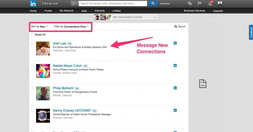 Message LinkedIn Connections