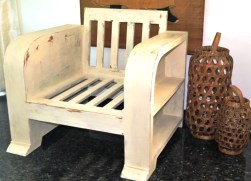 Wooden sofa without cushions