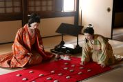 Playing a traditional Japanese game in Himeji castle